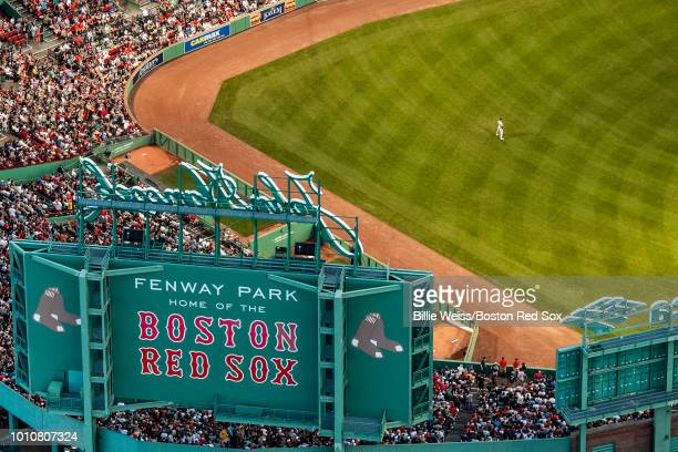 An aerial view of Fenway Park during a game between the Boston Red Sox and the New York Yankees on August 3, 2018 at Fenway Park in Boston,...