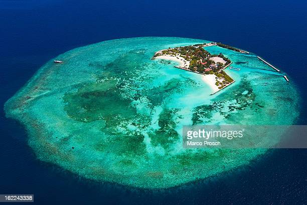 An aerial view of Feydhoo Finolhu island on May 17 2012 at Male Atoll Maldives Since 2006 the island was used as a minimum security jail in 2010 it...