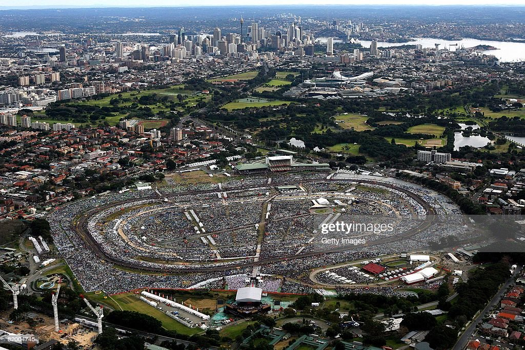 An aerial view of Final Mass at Southern Cross Precinct is seen during World Youth Day Sydney 2008 on July 20, 2008 in Sydney, Australia. Organised every two to three years by the Catholic Church, World Youth Day (WYD) is an invitation from the pope to the youth of the world to celebrate their faith. The celebration, being held in Sydney from July 15, 2008 to July 20, 2008, will mark the first visit of His Holiness Pope Benedict XVI to Australia.