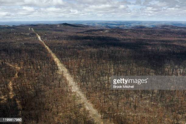 An aerial view of fireravaged bushland in Torrington on January 15 2020 in Torrington Australia On the afternoon of November 8 firestorms ripped...