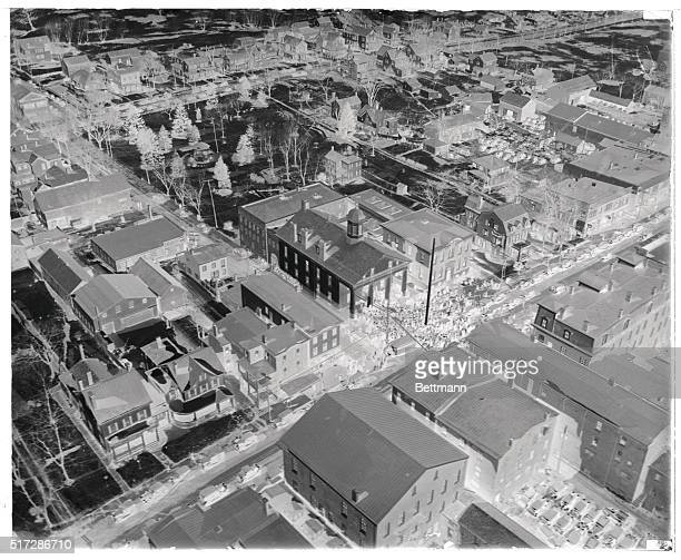 An aerial view of Flemington New Jersey and the crowd which has gathered outside the town's courthouse during the trial of Bruno Richard Hauptmann...