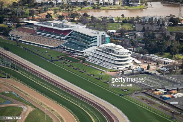 An aerial view of Flemington Racecourse on August 26, 2020 in Melbourne, Australia. Melbourne is in stage four lockdown for six weeks until September...