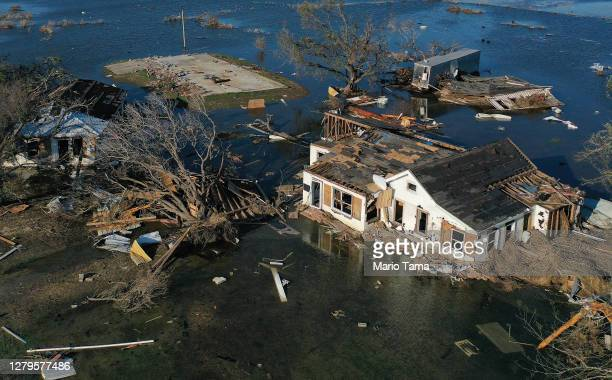 An aerial view of flood waters from Hurricane Delta surrounding structures destroyed by Hurricane Laura on October 10, 2020 in Creole, Louisiana....