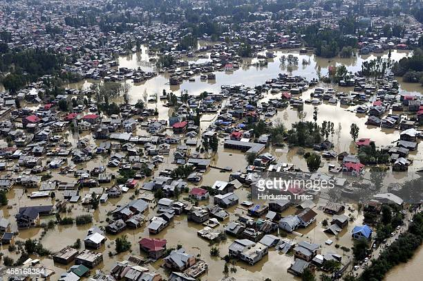 An aerial view of flooded areas of the Srinagar city on September 10 2014 in Srinagar India More than 50000 people have been rescued so far but...