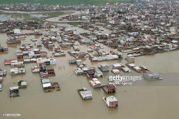An aerial view of floodhit areas in Golestan Province in northern Iran on March 21 2019 Iranian President Hassan Rouhani visited the area after the...