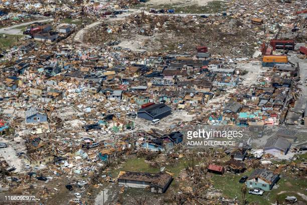 TOPSHOT An aerial view of floods and damages from Hurricane Dorian on Freeport Grand Bahama on September 5 2019