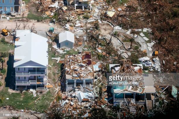 An aerial view of floods and damages from Hurricane Dorian on Freeport Grand Bahama on September 5 2019