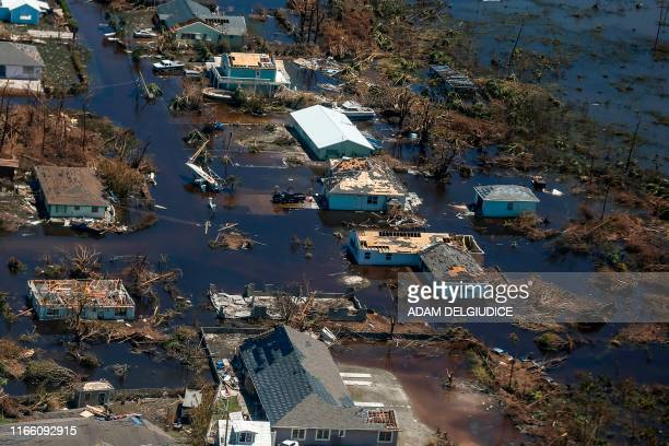 An aerial view of floods and damages from Hurricane Dorian on Great Abaco Island on September 5 2019 / The erroneous mention[s] appearing in the...