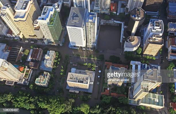 An aerial view of floodwaters in the Brisbane CBD area on January 13 2011 in Brisbane Australia Twelve people have been confirmed dead in towns in...