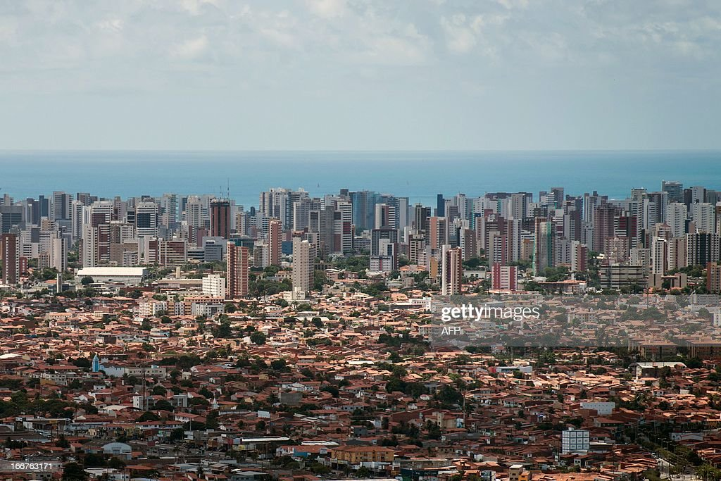 An aerial view of Fortaleza, state of Ceara, in northeastern Brazil, on April 16, 2013. Fortaleza will host the upcoming FIFA Confederations Cup matches Brazil vs Mexico, Spain vs Nigeria and the semi-final. AFP PHOTO/Yasuyoshi CHIBA