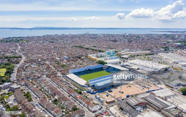 An aerial view of Fratton Park, the home of Portsmouth football club on June 17,2020 in Portsmouth,England.
