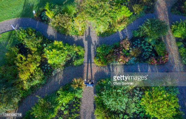An aerial view of gardeners working and casting shadows at RHS Garden Rosemoor on November 4,2020 in Rosemoor, England. The gardens will stay open...