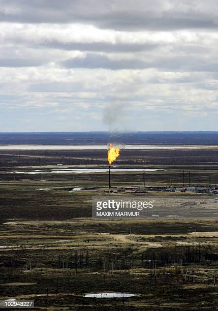 An aerial view of gaz fields not far from town of Novy Urengoy West Siberia taken 17 June 2006 Urengoy gas field is the world's second largest...