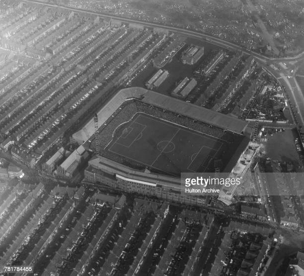 An aerial view of Goodison Park football stadium during an English League Division One match on 19 March 1966 at Goodison Park, Walton, Liverpool,...