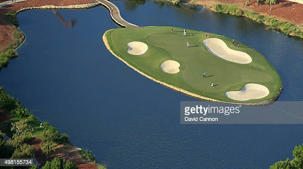 An aerial view of green on the par 3 17th hole during the third round of the 2015 DP World Tour Championship on the Earth Course at Jumeirah Golf...