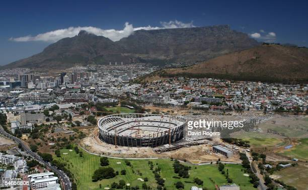 An aerial view of Green Point Stadium under construction on January 29 2009 in Cape Town South Africa The stadium will host the semi finals of the...