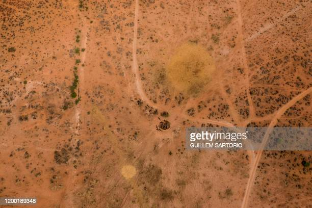 An aerial view of group of buffalos at a water point at the Thuru Lodge Game reserve near Groblershoop on January 15 2020 In the Northern Cape...