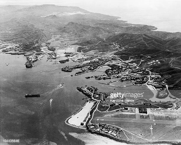 An aerial view of Guantanamo the American base in a bay to the east of the Cuba This photo was taken before the number of American naval ships was...