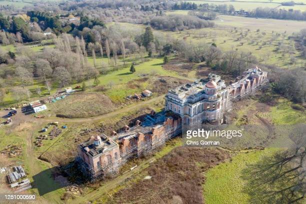 An aerial view of Hamilton Palace on March 6,2020 near Uckfield in East Sussex,England. The Palace owned by Nicholas von Hessen began being...