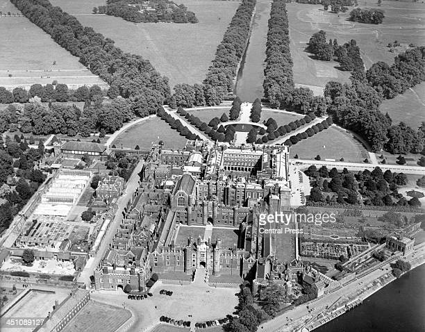 An aerial view of Hampton Court Palace in London, England. Circa 1950.
