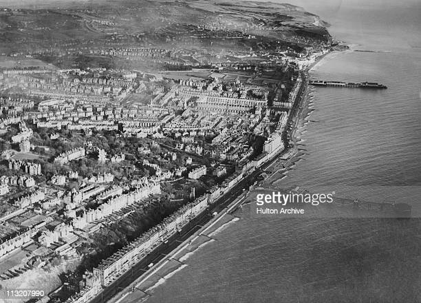 An aerial view of Hastings and St Leonards East Sussex showing St Leonards and Hastings piers circa 1935