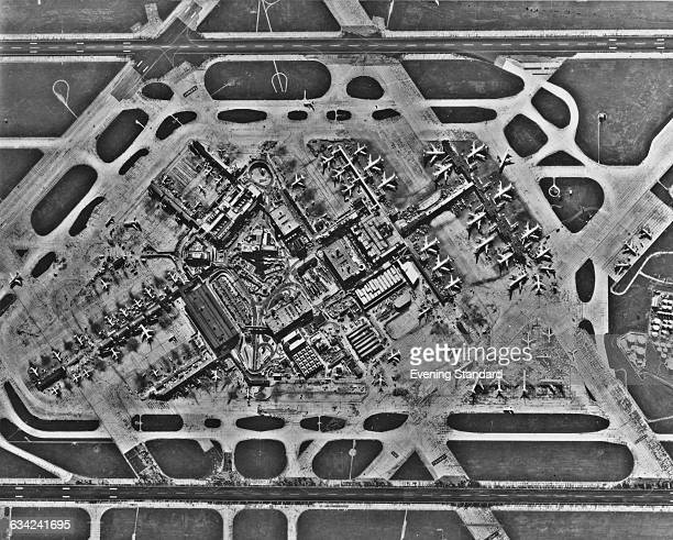 An aerial view of Heathrow Airport UK 1st February 1978