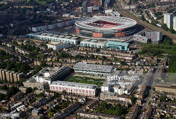 An aerial view of Highbury the former home of Arsenal Football Club with Emirates Stadium in the background on June 14 2012 in London England