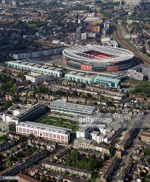 An aerial view of Highbury the former home of Arsenal Football Club with Emirates Stadium in the background on June 14, 2012 in London, England.