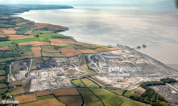 An aerial view of Hinkley Point C building site on August 8 2017 in Bridgewater England