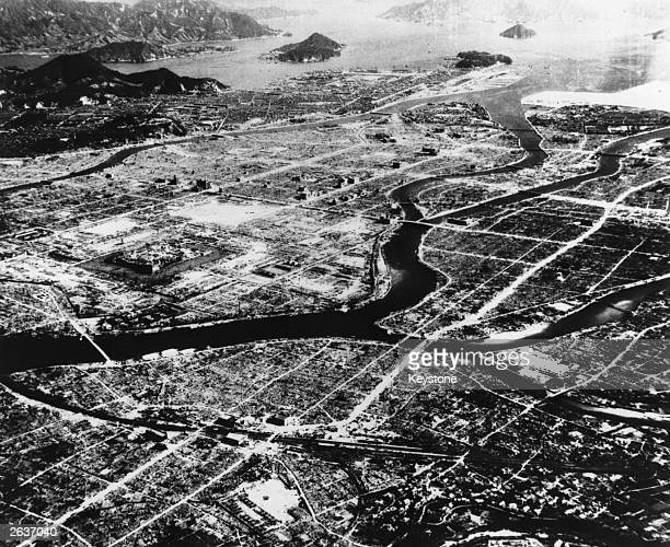 An aerial view of Hiroshima showing the devastation caused by a single atomic bomb dropped on the city on August 6th 1945