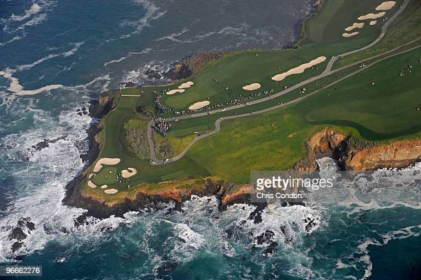 An aerial view of holes 7 8 of the Pebble Beach Golf Links from the MetLife airship Snoopy II during the third round of the ATT Pebble Beach National...