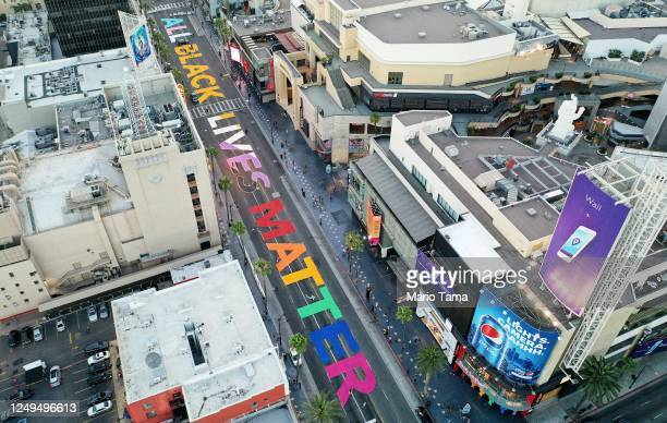An aerial view of Hollywood Boulevard painted with the words 'All Black Lives Matter' near the famous TCL Chinese and Dolby theaters as protests...