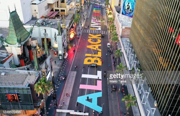 An aerial view of Hollywood Boulevard painted with the words 'All Black Lives Matter' near the famous TCL Chinese Theatre as protests continue in the...