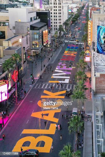 An aerial view of Hollywood Boulevard painted with the words 'Black Lives Matter' as protests continue in the wake of George Floyd's death on June 13...