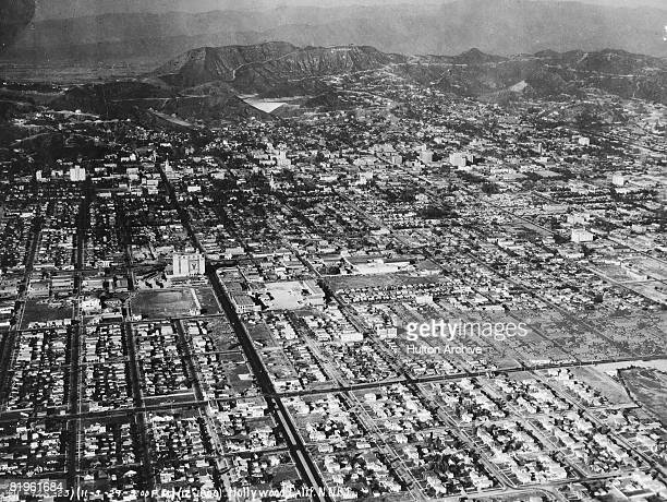 An aerial view of Hollywood California 5th November 1929 In the background is the 'Hollywoodland' sign