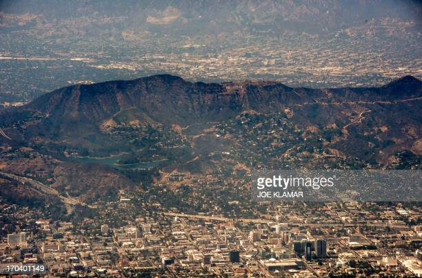 An aerial view of Hollywood Hollywood Hills and Burbank California is seen on June 12 2013 AFP PHOTO/JOE KLAMAR