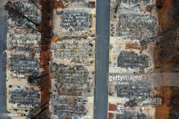 An aerial view of homes destroyed by the Camp Fire on February 11 2019 in Paradise California Three months after the deadly and destructive Camp Fire...