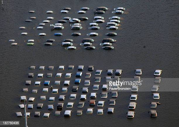 An aerial view of Honda vehicles at the flooded Honda factory in the Rojuna Industrial district on November 14 2011 in Ayutthaya Thailand While the...