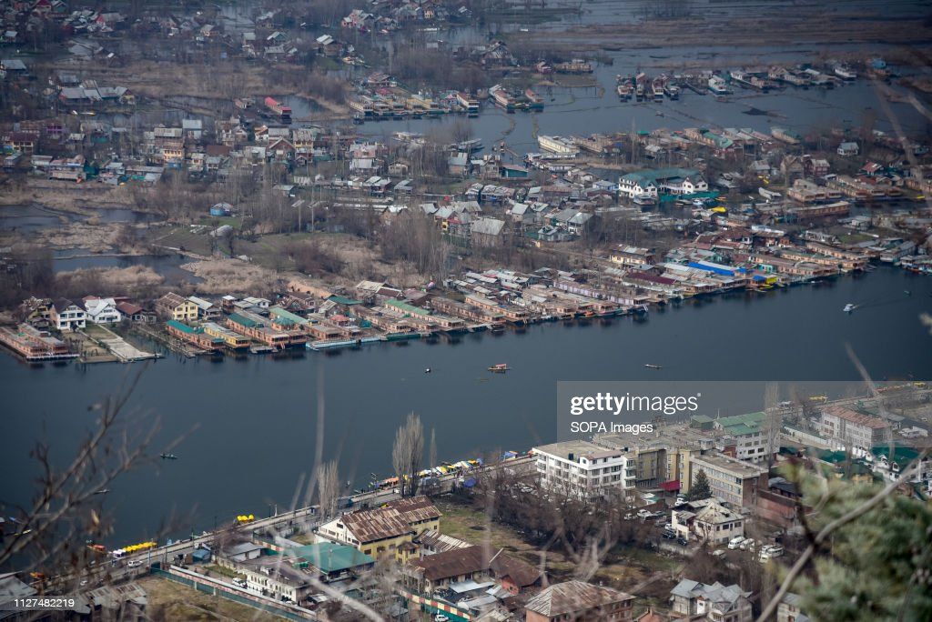 An aerial view of Houseboats on Dal Lake in Srinagar during