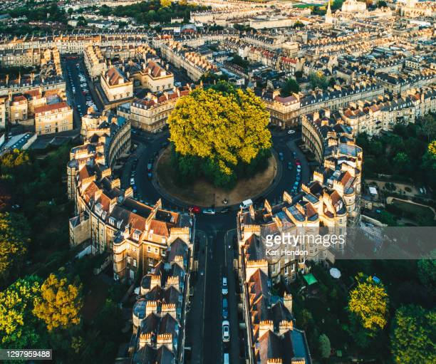 an aerial view of houses in bath, uk - stock photo - bath england stock pictures, royalty-free photos & images