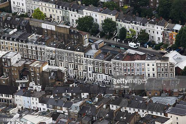 An Aerial view of houses in Kensington on July 26 2011 in London England London will host the 2012 Olympic Games