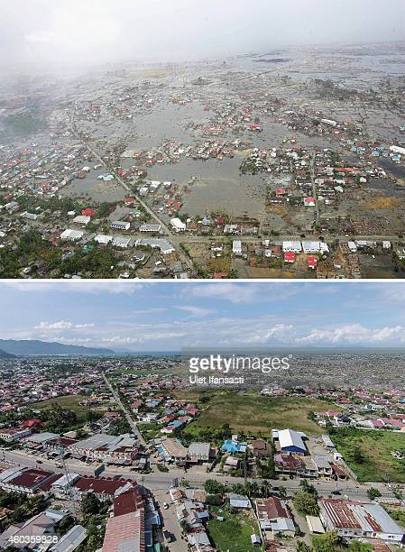 In this composite image a comparison has been made between a scene in 2004 and 2014 An aerial shot taken from a US Navy Seahawk helicopter from...
