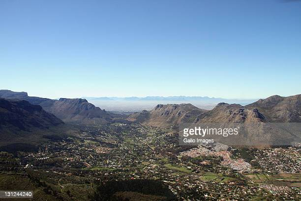 An aerial view of Hout Bay on September 16 2011 is the name of a coastal suburb of Cape Town South Africa with a mix of neighbourhoods from the very...