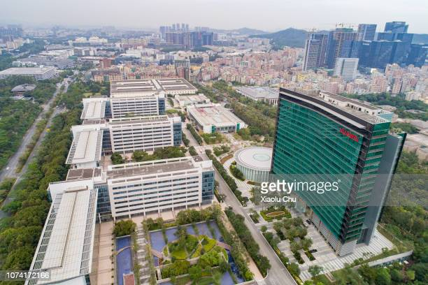 An aerial view of Huawei Global Headquarters on November 29, 2018 in Shenzhen, China.