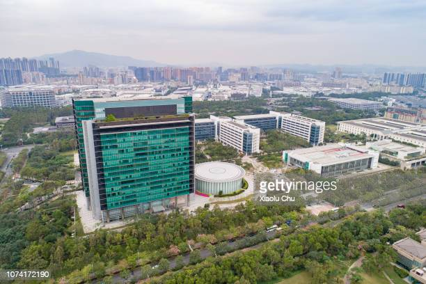 An aerial view of Huawei Global Headquarters on November 29 2018 in Shenzhen China