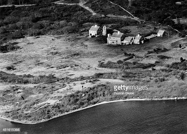 An aerial view of Jacqueline Kennedy Onassis' house and guest house on Martha's Vineyard The Wampanoag land is not visible in this picture