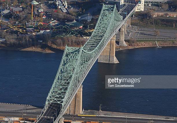 An aerial view of Jacques Cartier Bridge is seen from above on November 18 2012 in Montreal Quebec