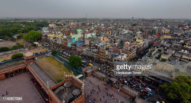 An aerial view of Jama Masjid, at Chandni Chowk on April 30, 2019 in New Delhi, India.