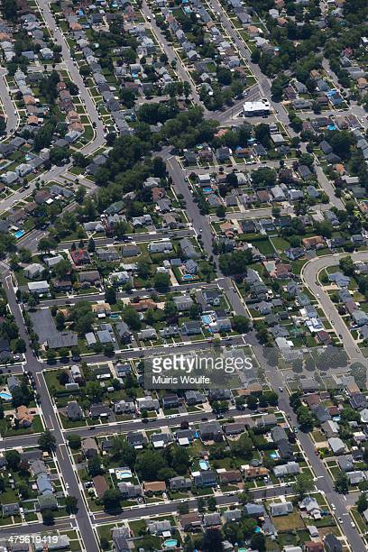 CONTENT] An aerial view of Jamaica Queens New York near John F Kennedy Airport shows the elements of individuality added by homeowners to combat the...