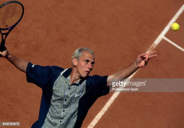 An aerial view of Jens Knippschid of Germany during a men's singles match at the French Open Tennis Championships at the Roland Garros Stadium in...